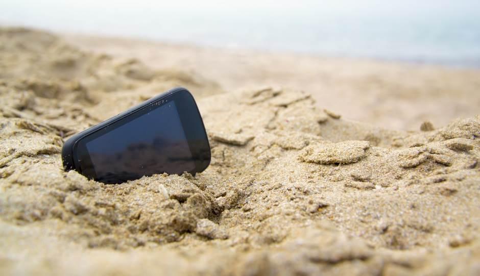 telefon, plaža, more, pesak