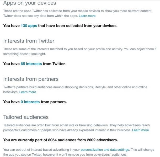 Twitter, opcije