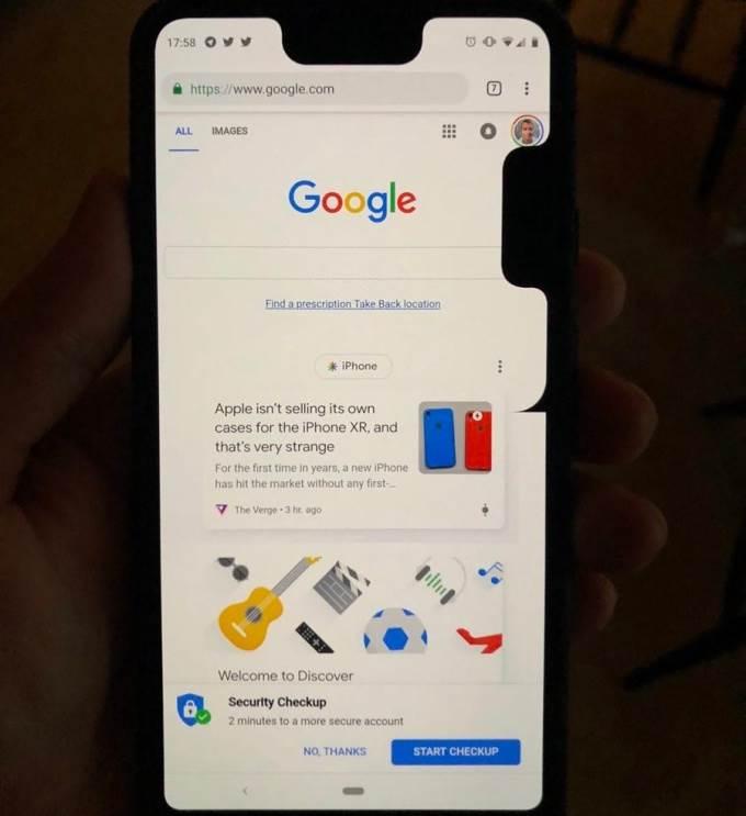 Google Pixel 3 XL double notch bug