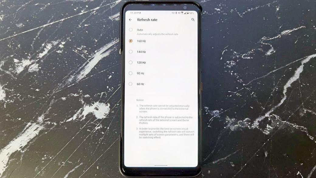 ASUS ROG Phone 2 160 Hz ekran