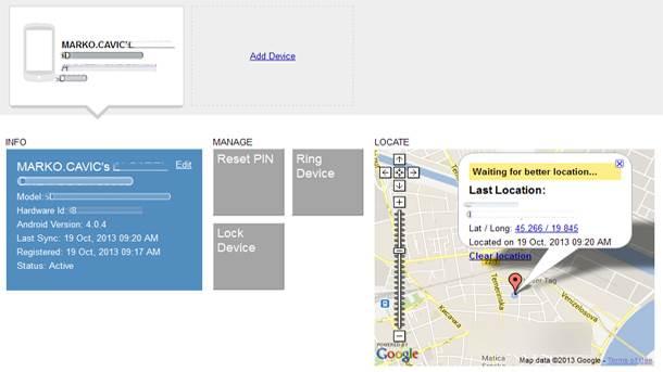 Veb interfejs za lociranje i praćenje Android telefona.
