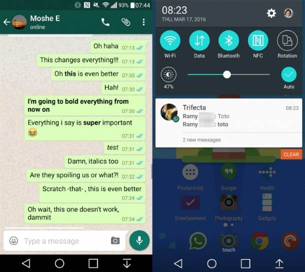 WhatsApp, Bold, Italic, Tekst