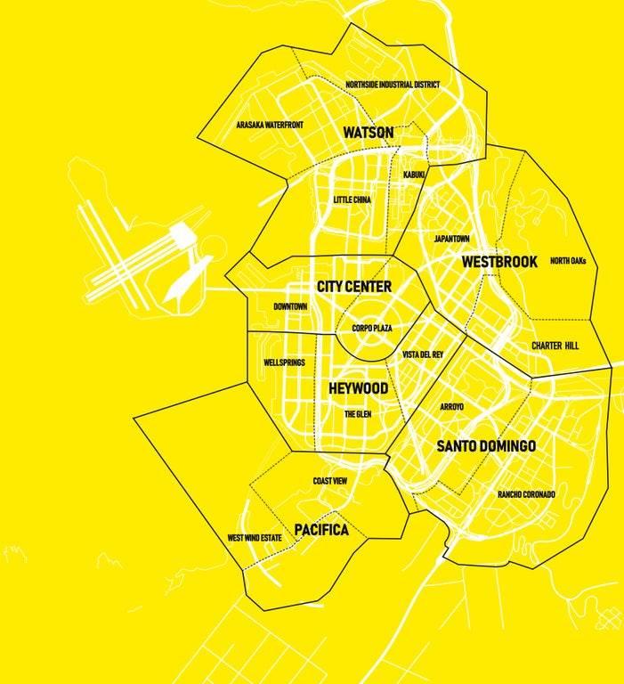 mapa night city noćni grad cyberpunk 2077 map (mobit)