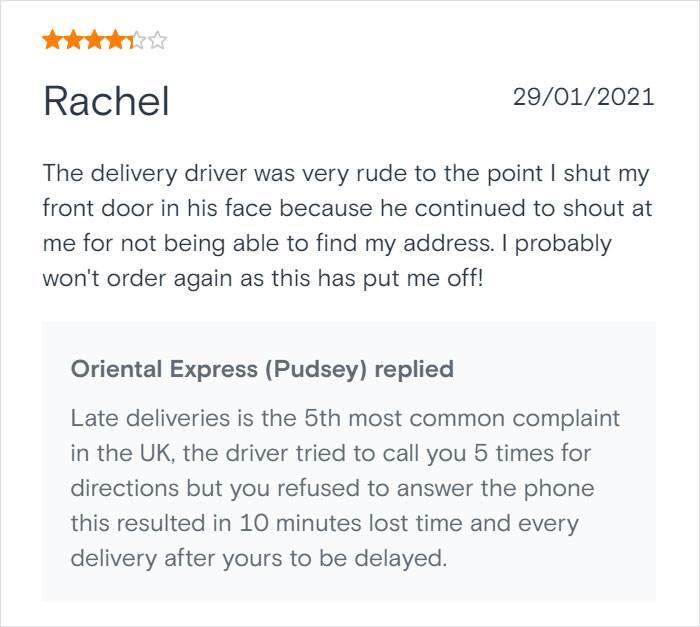 Rachel se žali na dostavu