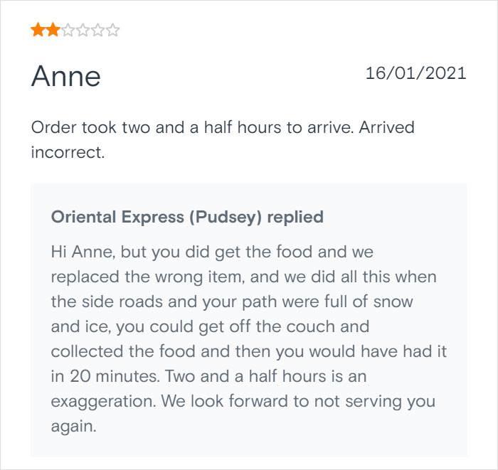 Anne se žali što je isporuka trajala predugo