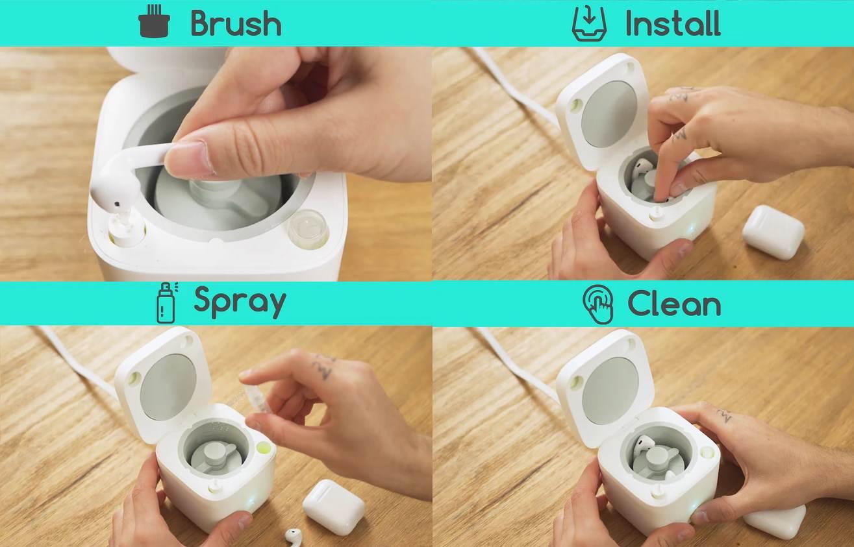 Proces čišćenja slušalica