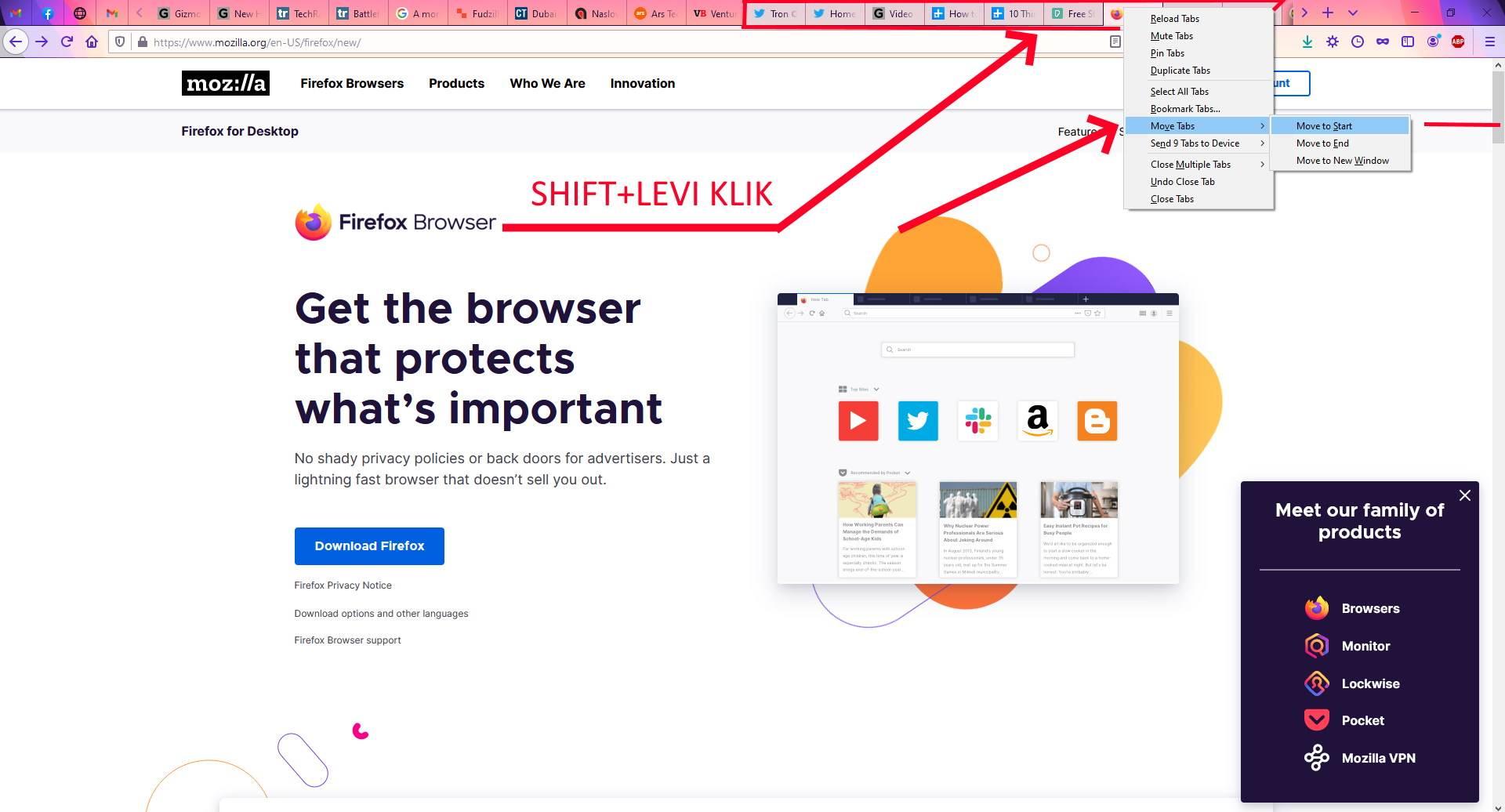 Grupisanje tabova držeći SHIFT taster i akcije nad odabranim tabovima