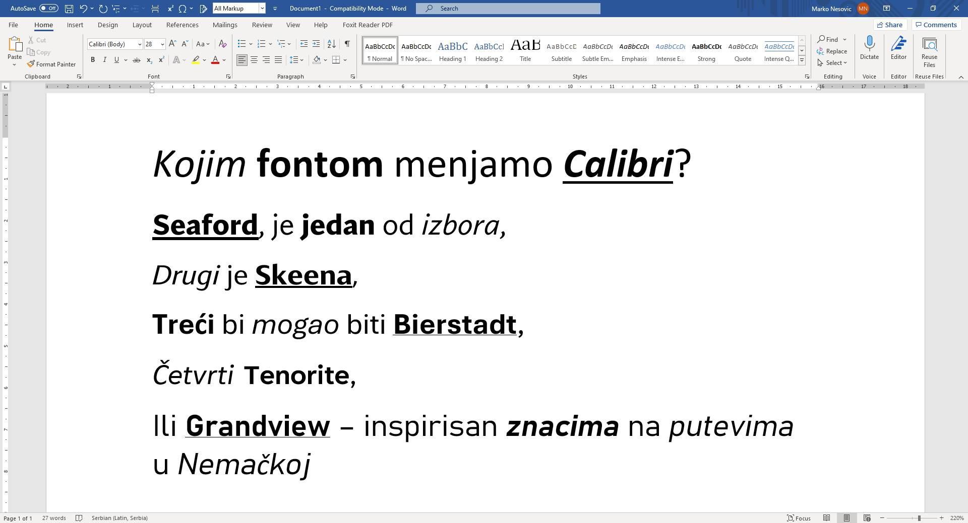 Fontovi koji menjaju Calibri
