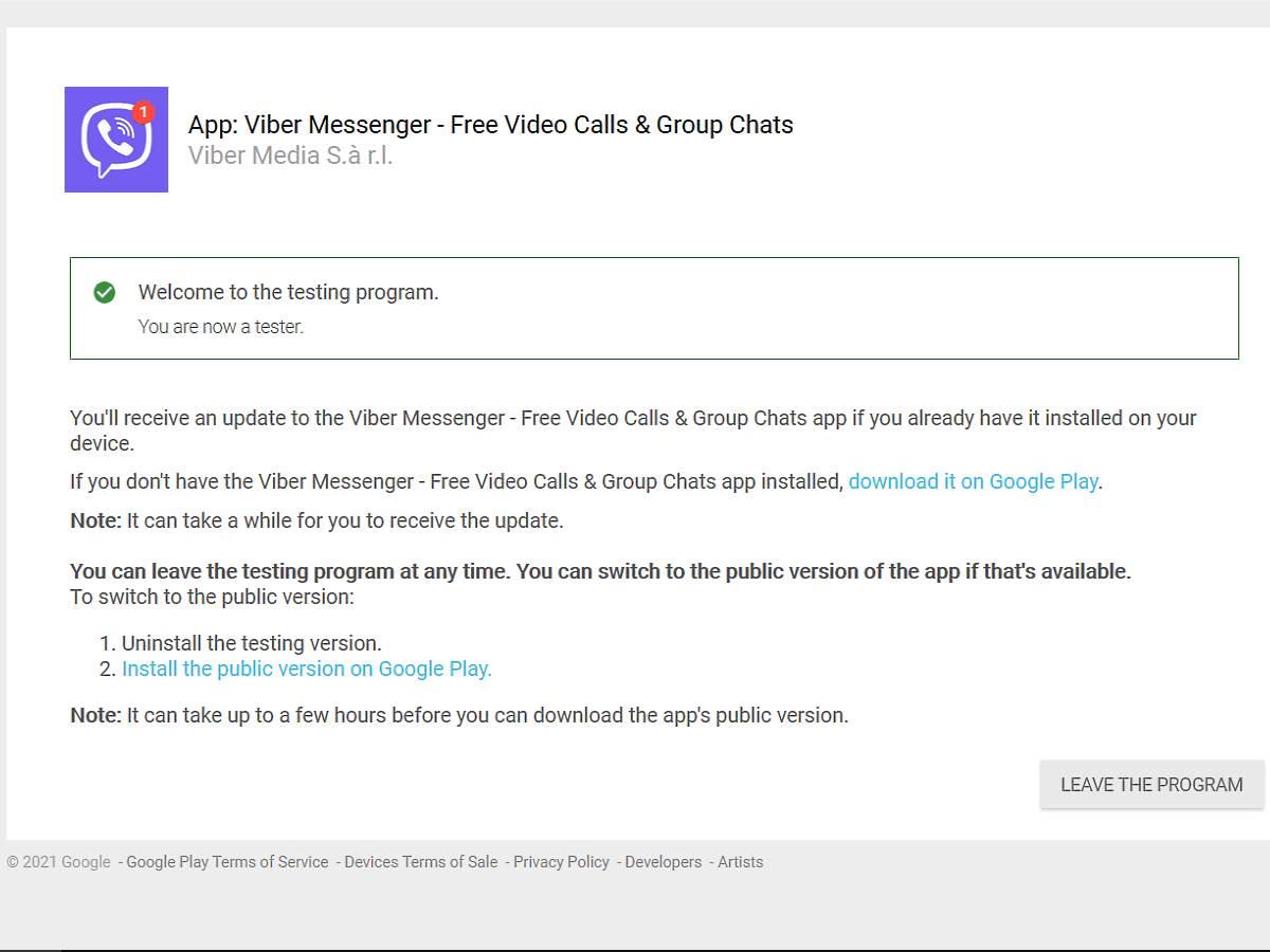 Viber beta aplikacija kako se pridružiti 4